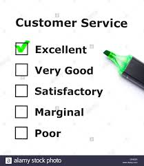 Customer Service Evaluation Form With Green Tick On Excellent With
