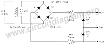 simple 12v dual power supply using zener diodes circuit diagram simple 12v dual power supply using zener diodes related circuits