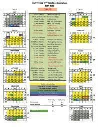 School Calendar 2015 16 Printable Huntsville City Schools Calendar 2020 Calendar