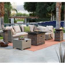 patio furniture with fire pit table. Simple Fire Coral Coast South Isle Natural Sectional Set With Coronado Gas Fire Pit  Table Throughout Patio Furniture With