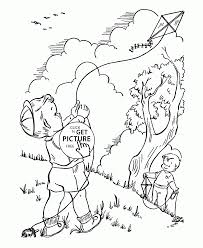 Small Picture Launch a Kite coloring page for kids spring coloring pages
