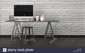 modern rustic office. Modern Rustic Office Interior With A Large Desktop Monitor On Wooden Trestle Table Simple Stool Against Textured White Brick Wall. 3d Renderi