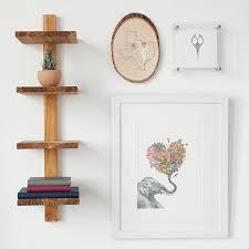 minimalist teak wall shelf