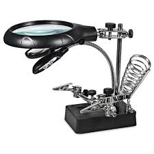new arrival magic 5 led light 8x illuminated magnifier desk magnifier with led alligator clip stand