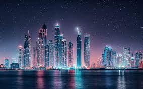 Dubai Skyline Starry Sky At Night Ultra ...