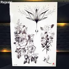 черный браслет цветок временные татуировки женщины груди наклейки девушки талии