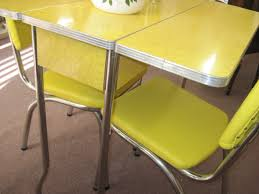 Round Formica Table Retro Drop Leaf Kitchen Tables And Chairs Yellow 1950s Cracked