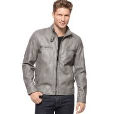 calvin klein faux leather moto jacket in gray for men