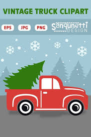 Christmas vintage pickup truck clipart, vector art for holiday ...