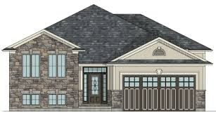 CANADIAN HOME DESIGNS   Custom House Plans  Stock House Plans    The Alberta raised bungalow house plan        HST  ALBERTA FRONT ELEVATION