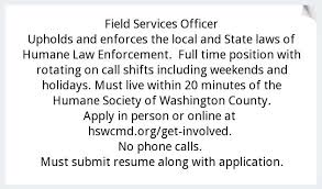 Field Services Officer Humane Society Of Washington County