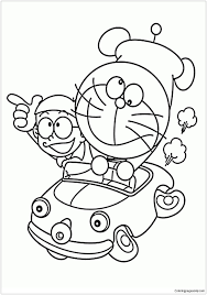 Draw doraemon nobita's father coloring | learn colors, painting for toddlers, drawing for kids. Doraemon And Nobita In Car Coloring Page Free Coloring Pages Online