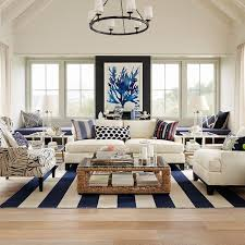 Superior Coastal Living Room Full Of Fun Patterns With A Blue And White Color Palette Pictures