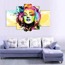 100 handpainted modern 5 panel marilyn monroe oil painting on canvas wall art pictures for home decoration no frame in painting calligraphy from home