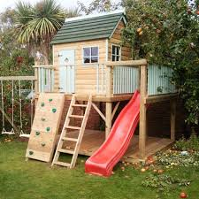 lawn garden wonderful brown natural wood garden playhouse design ideas for kids with red modern plastic slide and brown natural wood stair near brown