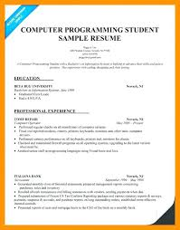 Sample Student Resume Programming Resume Examples Computer