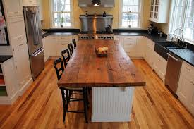 Butcher Block Kitchen Island Kitchen Island With Solid Wood Butcher Block Surface And Storage