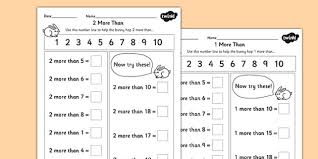 Given a number, identify one more and one less - New - Page 11 More and 2 More Worksheet - maths, numeracy, maths worksheets