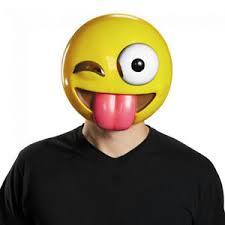 Tongue Out Crazy Wink Emoticon Emoji Adult Mask Ebay