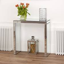 venetian mirrored compact console table
