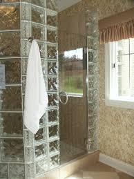 glass block shower with door