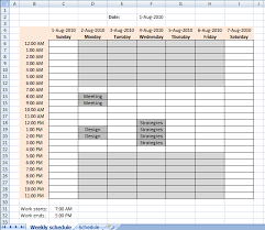 work scheduler excel setting up your work hours in a weekly schedule