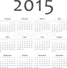Simple Calendar Template 2015 Simple European 2015 Year Vector Stock Vector Colourbox