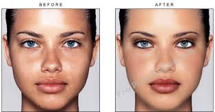 previous sle makeover of no make up photo of supermodel adriana lima with retouching
