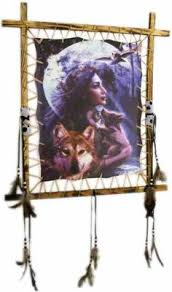 Dream Catcher Rules Indian Picture Wolf Dream Catcher Mandella 100 x100 beads feathers 29