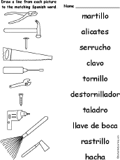 hand tool names. match words hand tool names