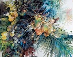 lian zhen coconut palm watercolor