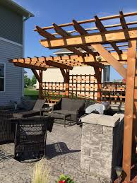 Cantilever Pergola Design Ideas Pictures Stamped Concrete Patio With Seating Walls Custom Cantilever
