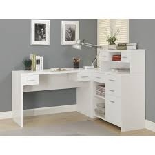 corner office desk ideas using corner white wooden writing desk in l shape with hutch and drawers