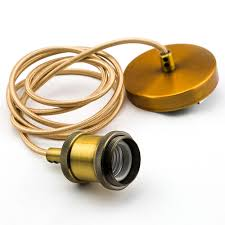fantado modern soho metal gold hardwire ceiling pendant light fixture cord kit w 6ft braided cloth satin brass finish by paperlantern com