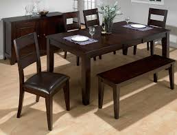 Casual Dining Room Design with Prairie 6 Piece Dark Wooden Dining Room Set  Butterfly Leaf Rectangular Dining Table and Dark Wooden Buffet Server  Tables