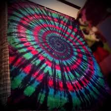 hot pink black blue and green tie dyed