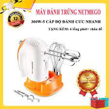 Máy đánh trứng mini, Máy đánh trứng cầm tay Netmego N38D 300W, Nhào bôt,  Đánh kem Đa Năng, Hàng Chất Lượng Chính Hãng