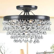 square flush mount crystal ceiling light 5 antique black glass drop chandelier bronze chandelie