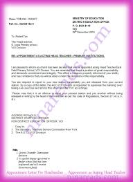 appointment letter for headteacher ninareads com appointment letter for headteacher appointment as acting head teacher