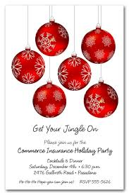 Snowflakes On Red Ornaments Christmas Invitations