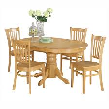 East West Furniture Avon 5 Piece Pedestal Oval Dining Table Set With