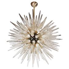impressive handblown murano glass spiked starburst chandelier at