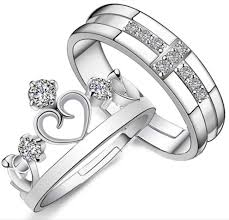 Latest Couple Ring Designs Romantic Crown Design Shiny Diamond Couple Rings Gift Jewelry