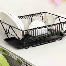 Kitchen Sink Drain Rack Heavy Duty Metal Black Dish Drying Rack Kitchen Dinnerware Storage