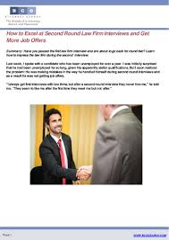 how to excel at second round law firm interviews and get more job off