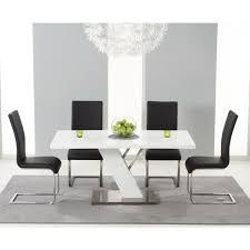 mark harris portland white high gloss dining table 160cm with 4 black malibu chairs