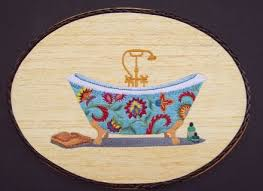 bathroom wall decor victorian bathtub embroidery wood art victorian