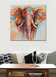 50 50cm hd printed frameless elephant head canvas painting wall art pictures decor for home