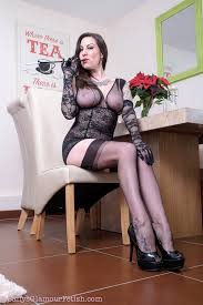 Smoking in pantyhose brunette