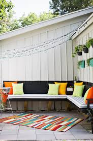 small space outdoor decoration with white grey striped uplush replacement cushion for and l shaped patio nook bench